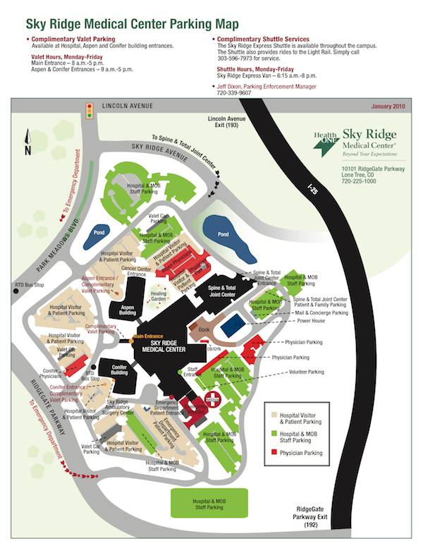 Parking Map Sky Ridge Medical Center